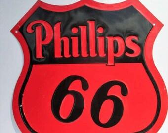 SALE 20% OFF Vintage Phillips 66 Tin Metal Sign...Americana, Garage Art, Rustic Decor