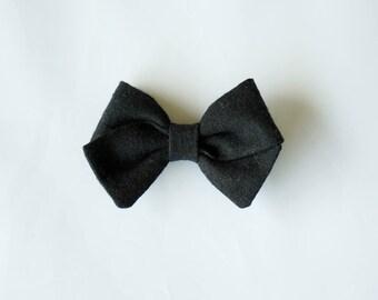 Linen Hand Folded Bow Clip or Headband Nylon Skinny Headband -Black-