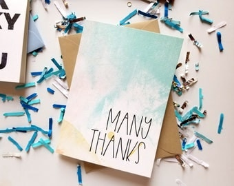 Many Thanks Watercolor Thank You Card with Matching Kraft Envelope