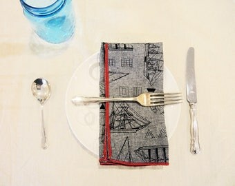 Linen and Chambray Cocktail Napkin Set - Set of Four Gray Linen Cotton Napkins - Surged in Red - 12in Square Napkins - Tracey Toole Designs