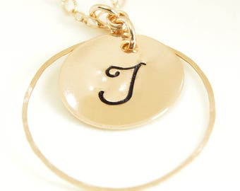14kt Rose Gold Filled Initial Monogram Delicate Necklace Calligraphy Letter Handcrafted Circle Charm Mom Mothers Artisan Handmade Jewelry