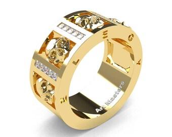 Mens Avant Garde 14K Yellow Gold Channel Set Princess Diamond Skull Wedding Ring R413P-14KYGD