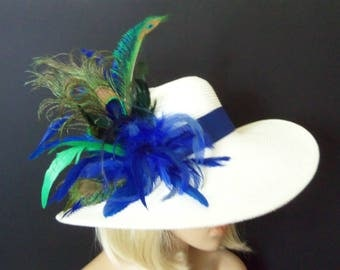Wide Brim White Hat - White and Royal Blue - Peacock Feathers - Kentucky Derby, Tea Party