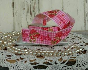 "Vintage Strawberry Shortcake Grosgrain Ribbon Still on Spool - Kitsch Retro Pink Plaid Ribbon, Home Decor, Clothing + Sewing Ribbon, 378""!!!"