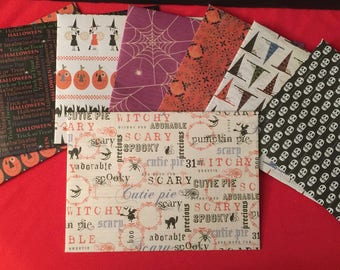 Handmade Halloween design envelopes- set of six