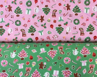 Penny Rose Little Joys Christmas Icons by Elea Lutz Christmas Wreath in pink or green by the half metre