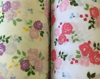 Roses polycotton craft fabric available in two colours by the metre