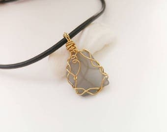 Gray Sea glass Necklace. Wire wrapped seaglass pendant. Genuine sea glass. Beach finds upcycled jewelry. Glass pendant. Simple gifts