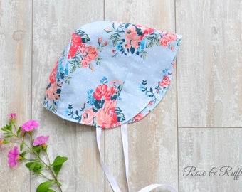 Coral and Blue Reversible Cotton Baby Bonnet, Modern Bonnet, Sun Hat, Baby Shower, Gift, Newborn 0-3M to Toddler 18M, Rose and Ruffle