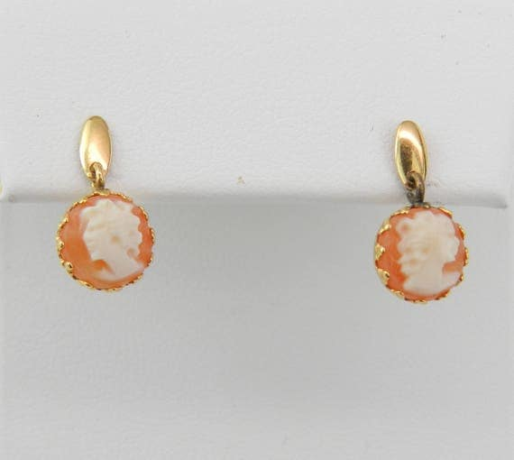 Vintage Antique Petite 14K Yellow Gold Cameo Stud Earrings Dangle Studs