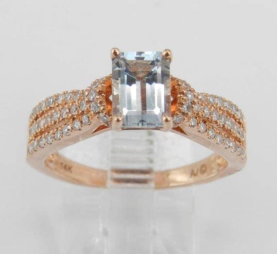 14K Rose Gold Diamond and Emerald Cut Aquamarine Engagement Aqua Ring Size 7 March