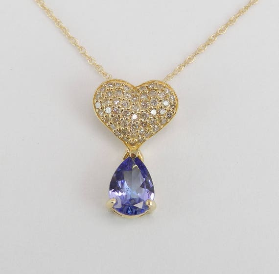 """Diamond Heart Cluster and Tanzanite Necklace Pendant 14K Yellow Gold 18"""" Chain"""