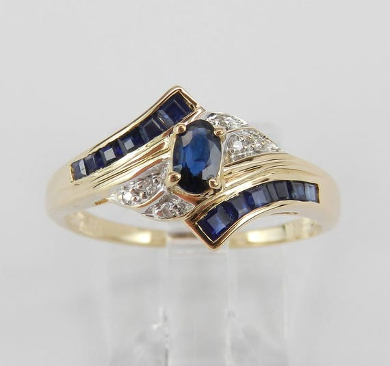 Estate 14K Yellow Gold Diamond and Sapphire Engagement Ring Size 8.5