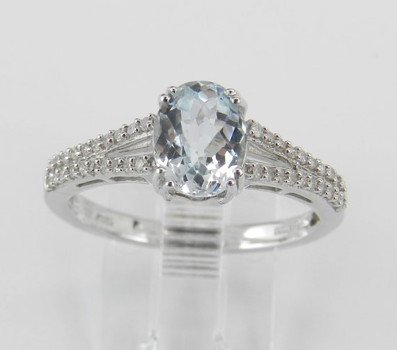 Diamond and Aquamarine Engagement Ring Aqua Promise White Gold Size 8 March Gem