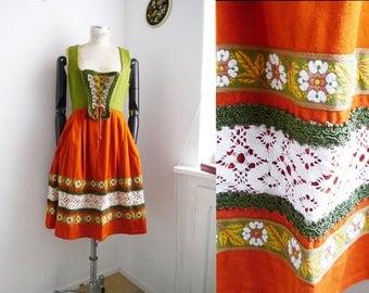 Vintage Dirndl Dress German Trachten Bavarian vintage Dirndl Green Orange Floral Embroidered Oktoberfest lace up corset style 60s 70s