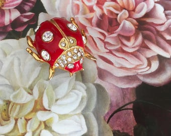 Vintage ladybug red scatter pin brooch 80s 90s costume jewellery brooch rhinestones German vintage fashion accessories