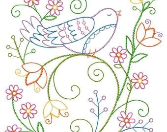 Spring Birdsong Vintage-Style Design Embroidered on Hand Towel or Tea Towel