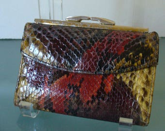 Vintage Bosca Snakeskin & Leather Wallet