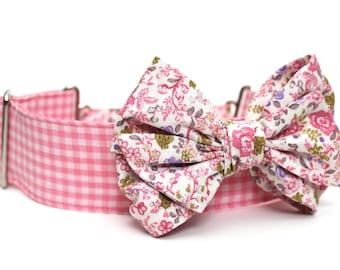 Dog Collar Bow Add-On Pink Floral Bow for Dogs Matching Dog Bow Dog Collar
