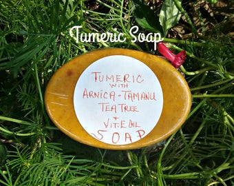 Tumeric Arnica Soap - Medicinal Soaps - Herbal Soaps - All Natural Soaps - Pain Relief - Elusive Wolf