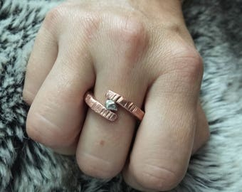 Rugged Copper Viking Ring w/ Sterling Silver Nugget - Raw Mixed Metals Men's or Women's Wedding Band - 7th Anniversary Gift - Rustic Jewelry