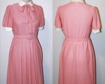 Vintage Dress 70s Secretary Light Dusty Pink Dot Sleeve- Stranger Things, Shirtwaist 1970s Does 1940s Size S Small 8