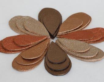 24pcs Die Cut Leather Teardrops, Metallic Bronze , Metalloc Copper  Genuine Leather