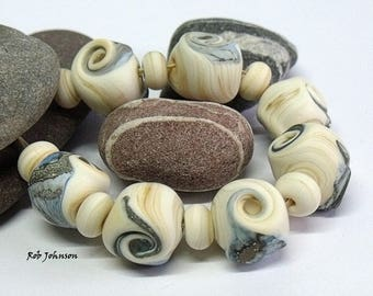Lime Cliffs, Lampwork Beads, SRA, UK