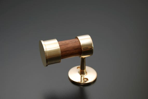 Polished Brass and Oiled Walnut Hook