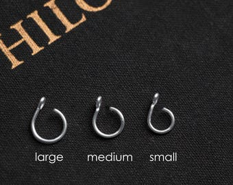 Fake Nose Ring - ALL SIZES - SILVER No Piercing Body Jewellery, 20 gauge, Faux, Large Hoop, Small, plain, simple nose cuff