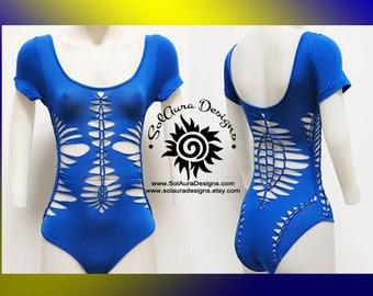 LOTUS AWAKENING - Womens/Junior Royal Blue Cut Leotard, Festival Wear, Hoop Wear, Burning Man Wear, unique wear, performance wear