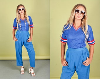 80s Bright Blue Trousers Vintage Royal Blue High Waisted Pants