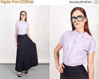 FLASH SALE 50s Lilac Blouse Vintage Peter Pan Collar Purple Trimmed Blouse