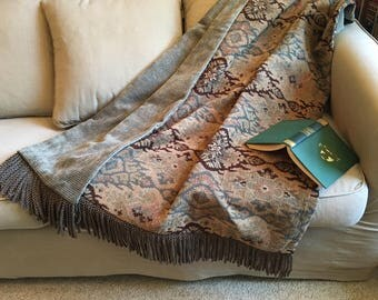 Tribal Throw Blanket, Aztec Brown Blue Rug, Southwestern Mountain Design, Chenille Tapestry, Rustic Decor, Fathers Day Gift, Warm Coverlets