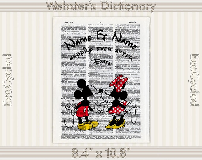 Classic Mickey Mouse & Minnie Mouse 3 Disney Custom Names and Date on Vintage Upcycled Dictionary Art Print Book Anniversary Wedding Romance