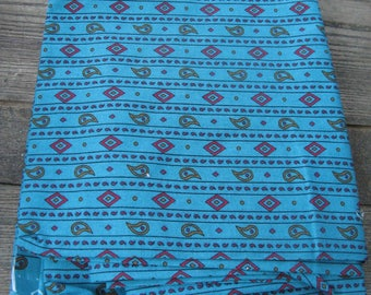 vintage blue upholstery weight fabric over 3 yards 59 inches wide tribal print ethnic print southwestern