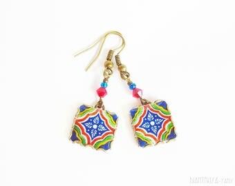 Vintage tile earrings. Vintage patterns.