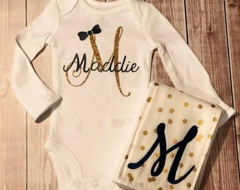 Personalized Girls Bodysuit and Burp Cloth Set, Gold and Navy Girls Bodysuit, Baby Girl Shower Gift, Monogram Bodysuit and Burp Cloth