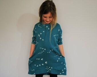Girls dress slouchie floppy teal blue swallow smock bird print pockets lounge stretch knit pocket jumper style fashion girl casual girls
