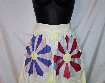 """JULY 4TH SALE 60s Vintage Seminole Native American Indian Skirt-Dirndl-Size 4-Small-26"""" Waist-Handmade-Collector"""