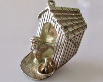 Large Silver Dog in Kennel Charm or Pendant