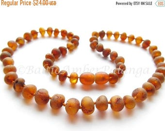 SALE Raw Unpolished Baltic Amber Necklace Rounded Dark Cognac Color Beads. For Adults