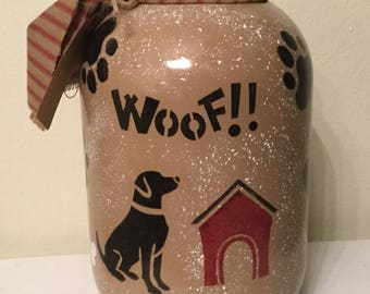 Pet Food Jar Upcycled Gallon Jar Dog Food Storage Doggie Treat Jar Ready To Ship  Handpainted