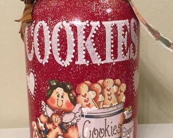 Gingerbread Cookie Jar..Upcycled.Housewarming Gift.Cottage Chic. Ginger Kitchen.Storage.Kitchen Storage..Kitchen Decor. Collector. Gallon