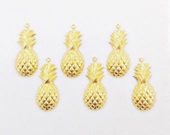 Pineapple Charm, Gold Pineapple, Brass Pineapple Pendant, Brass Stamping, 12mm x 28mm - 6 pcs. (gd298)