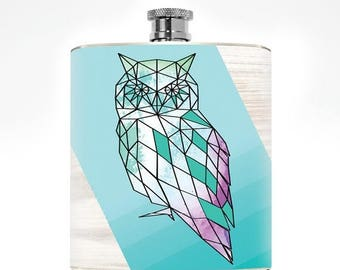 Owl Flask Geometric Drinking Gifts Liquor Women's Flask Hipster Owl Gift Minimalist College Girl Hip Flask Wedding Personalized Stuff Pocket