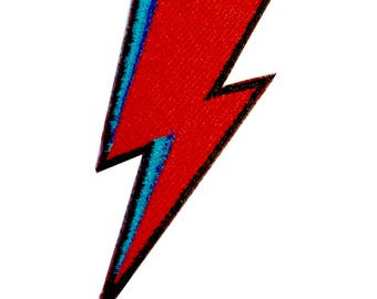 David Bowie Lightning Bolt Iron On Patch Embroidery Sewing DIY Customise Denim Cotton Glam Aladdin Sane Ziggy Stardust '80s Punk Rock