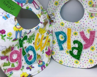 Play Grow // Baby Girl // Applique Baby Bib // Reversible // Gift Set // Christmas // Baby Shower // Under 10 // For Baby // Birthday