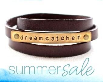 unisex bracelet, leather wrap bracelet, leather bracelet, leather cuff, dreamcatcher, quote bracelet, inspiration jewelry, cuff bracelet