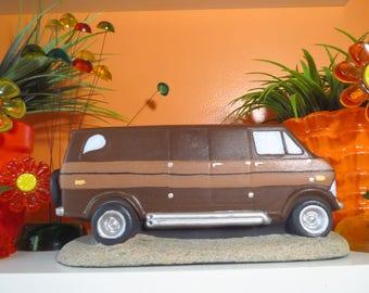 Vintage 1970s Retro Groovy Van Ceramic Art Sculpture Chevy GMC Dodge Shaggin Wagon
